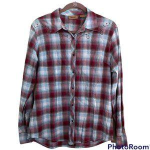Wrangler - Women's Sz Medium Embellished snap front long sleeve plaid shirt